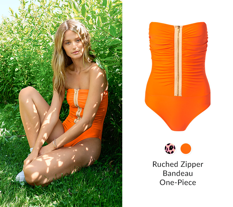 Ruched Zipper Bandeau One-Piece